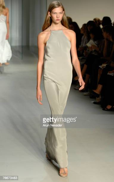 A model walks the runway wearing Calvin Klein Spring 2008 during MercedesBenz Fashion Week at 205 W 39th Street on September 11 2007 in New York City