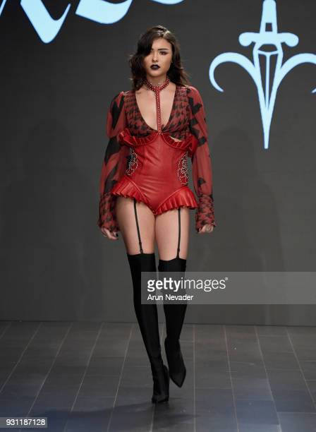 A model walks the runway wearing Candice Cuoco at Los Angeles Fashion Week Powered by Art Hearts Fashion LAFW FW/18 10th Season Anniversary at The...
