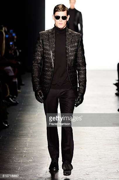 A model walks the runway wearing Carmen Marc Valvo Fall 2016 during New York Fashion Week The Shows at The Arc Skylight at Moynihan Station on...