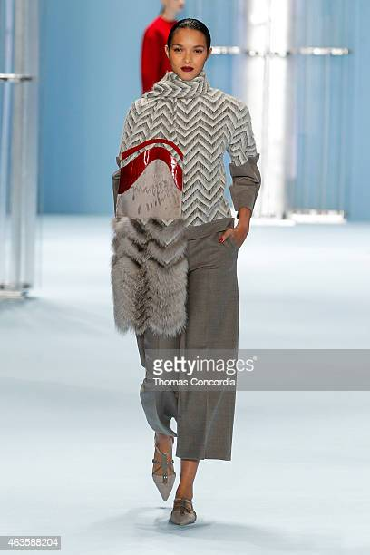 A model walks the runway wearing Carolina Herrera Fall 2015 Collection during MercedesBenz Fashoin Week at The Theatre at Lincoln Center on February...