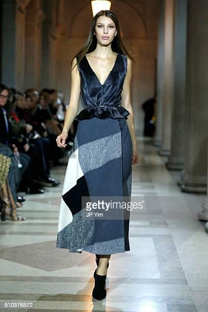 A model walks the runway wearing Carolina Herrera Fall 2016 during New York Fashion Week on February 15 2016 in New York City