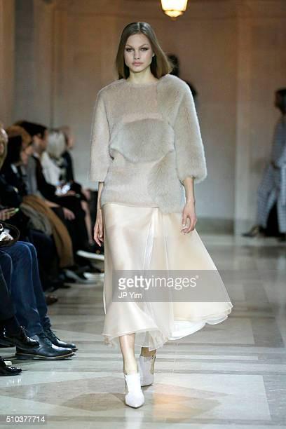 Model walks the runway wearing Carolina Herrera Fall 2016 during New York Fashion Week on February 15, 2016 in New York City.