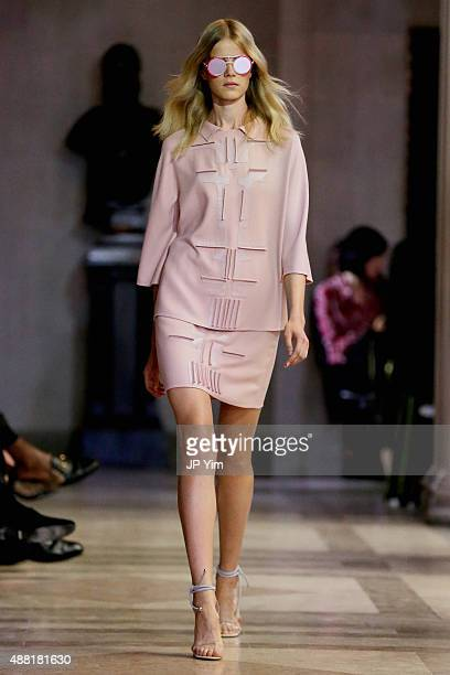A model walks the runway wearing Carolina Herrera Spring 2016 during New York Fashion Week The Shows on September 14 2015 in New York City