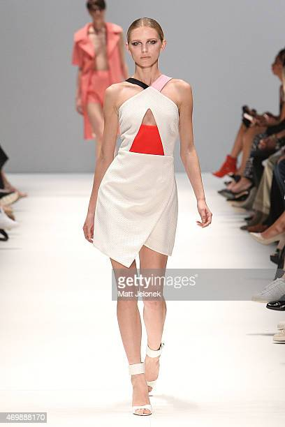 A model walks the runway wearing Casper Pearl during the St George New Generation show at MercedesBenz Fashion Week Australia 2015 at Carriageworks...