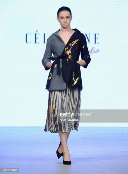 Model walks the runway wearing Celestine Studio at Vancouver Fashion Week Fall/Winter 2017 at Chinese Cultural Centre of Greater Vancouver on March...
