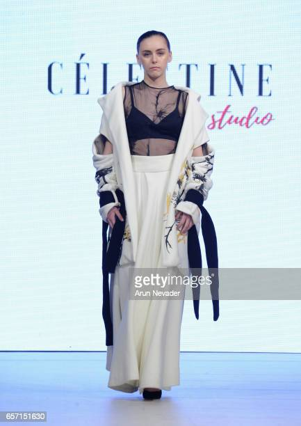 A model walks the runway wearing Celestine Studio at Vancouver Fashion Week Fall/Winter 2017 at Chinese Cultural Centre of Greater Vancouver on March...