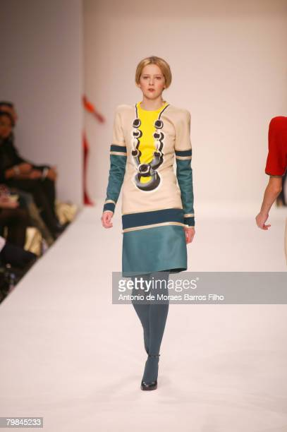 A model walks the runway wearing Central Saint Martins 2008 during London Fashion Week on February 15 2008 in London