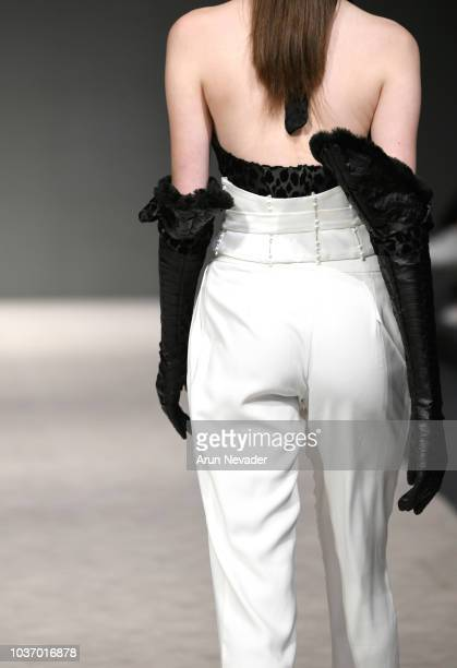 A model walks the runway wearing Chantelle Lecourt at Vancouver Fashion Week Spring/Summer 19 Day 4 on September 20 2018 in Vancouver Canada