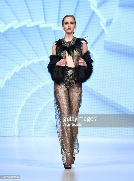 Model walks the runway wearing Chany Venturini at 2018 Vancouver Fashion Week - Day 4 on March 22, 2018 in Vancouver, Canada.