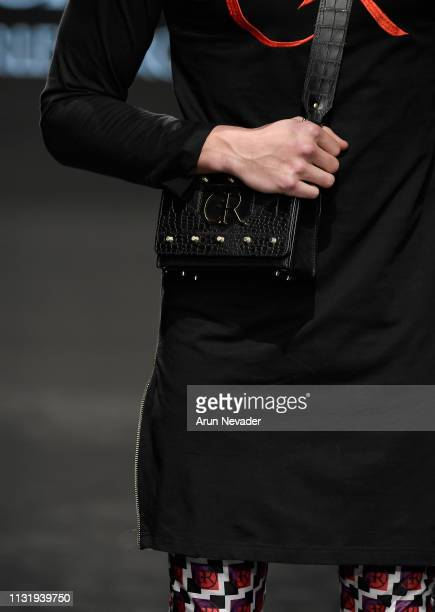A model walks the runway wearing Charles And Ron at Los Angeles Fashion Week FW/19 Powered by Art Hearts Fashion at The Majestic Downtown on March 21...