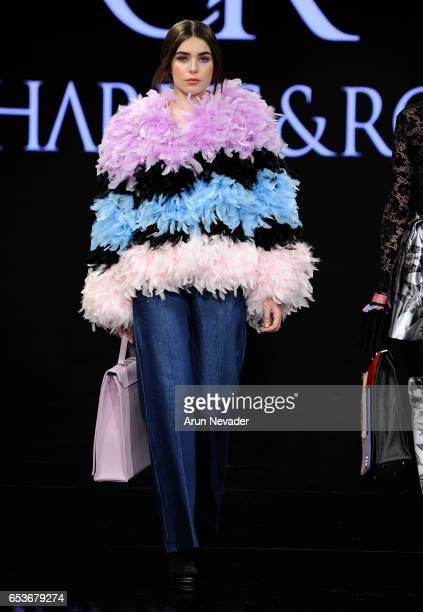 A model walks the runway wearing Charles and Ron at The Beverly Hilton Hotel on March 15 2017 in Beverly Hills California