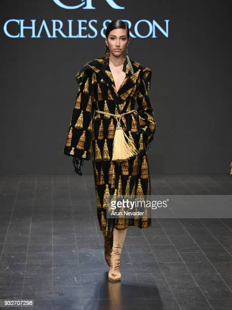 A model walks the runway wearing Charles Ron at Los Angeles Fashion Week Powered by Art Hearts Fashion LAFW FW/18 10th Season Anniversary at The...