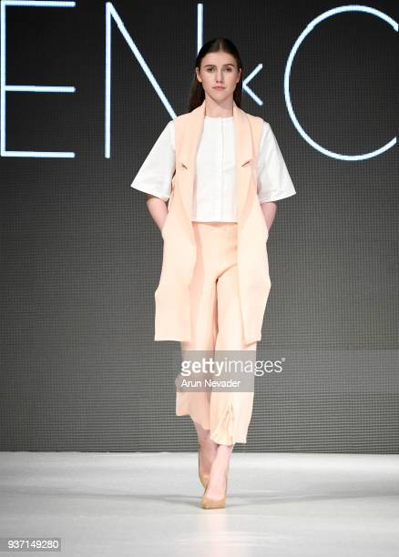 A model walks the runway wearing Chen X Chen Design at 2018 Vancouver Fashion Week Day 4 on March 22 2018 in Vancouver Canada