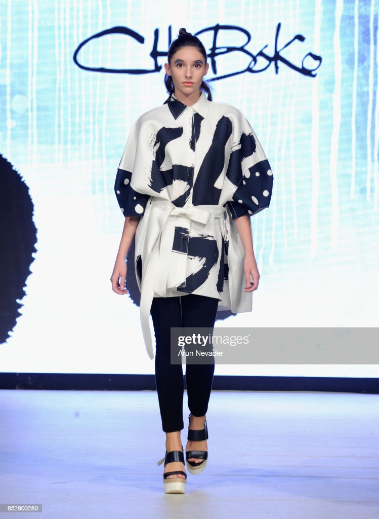 A model walks the runway wearing ChoiBoko at 2017 Vancouver Fashion Week - Day 6 on September 23, 2017 in Vancouver, Canada.
