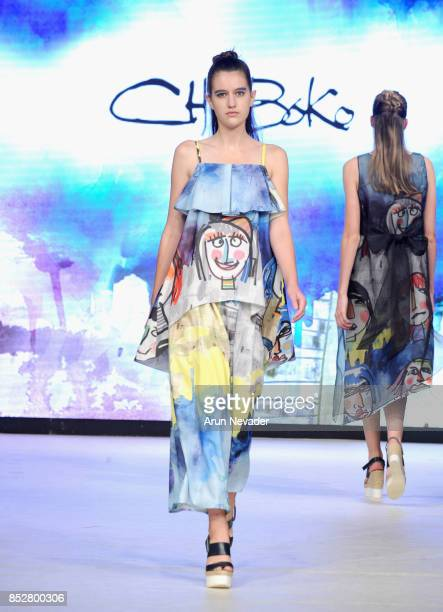 A model walks the runway wearing ChoiBoko at 2017 Vancouver Fashion Week Day 6 on September 23 2017 in Vancouver Canada