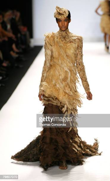A model walks the runway wearing Christian Siriano Project Runway Season 4 collections during MercedesBenz Fashion Week Fall 2008 at The Tent Bryant...