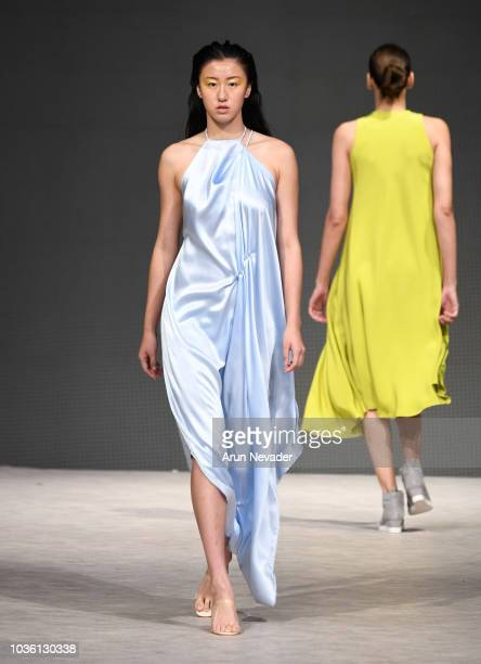 A model walks the runway wearing Christina Yother Designs at Vancouver Fashion Week Spring/Summer 19 Day 2 on September 18 2018 in Vancouver Canada