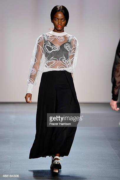 A model walks the runway wearing Concept Korea Spring 2016 during New York Fashion Week The Shows at The Dock Skylight at Moynihan Station on...