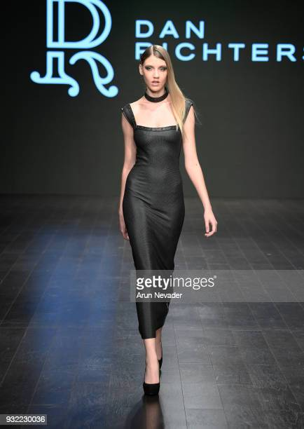 A model walks the runway wearing Dan Richters at Los Angeles Fashion Week Powered by Art Hearts Fashion LAFW FW/18 10th Season Anniversary at The...