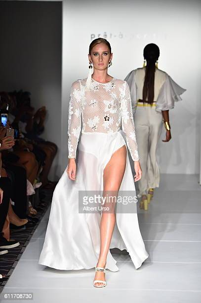 A model walks the runway wearing Daniella Batlle at the PretAPorter show during New York Fashion Week September 2016 on September 11 2016 in New York...
