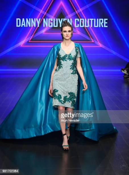 A model walks the runway wearing Danny Nguyen at Los Angeles Fashion Week Powered by Art Hearts Fashion LAFW FW/18 10th Season Anniversary at The...
