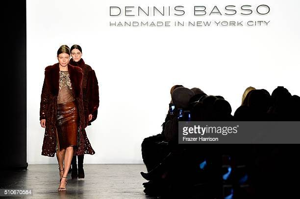 A model walks the runway wearing Dennis Basso Fall 2016 during New York Fashion Week The Shows at The Arc Skylight at Moynihan Station on February 16...