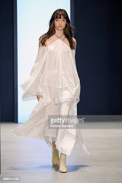 A model walks the runway wearing Derek Lam Spring 2016 during New York Fashion Week The Shows at The Gallery Skylight at Clarkson Sq on September 13...