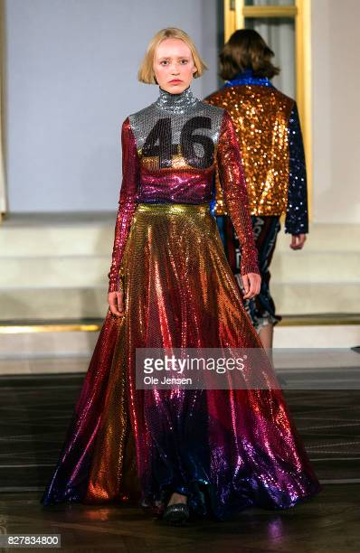 A model walks the runway wearing design by Anna Isoniemi at the 'Designer's Nest' award show Copenhagen Fashion Week Spring/Summer 2018 on August 8...