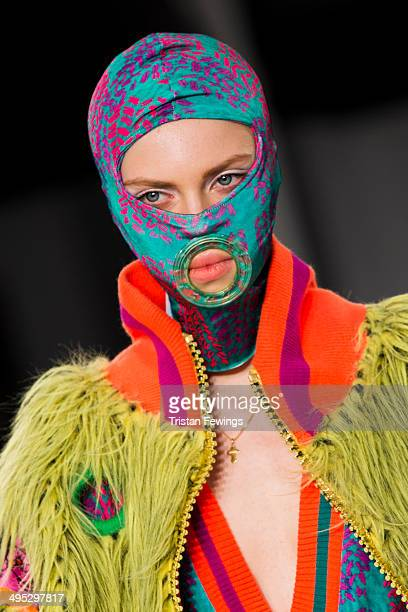 A model walks the runway wearing designs by Beth Sharman during the De Montfort University show during day 3 of Graduate Fashion Week 2014 at The Old...