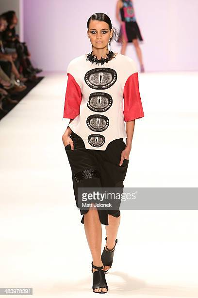 Model walks the runway wearing designs by Ciara Nolan at the Innovators show at Mercedes-Benz Fashion Week Australia 2014 on April 10, 2014 in...