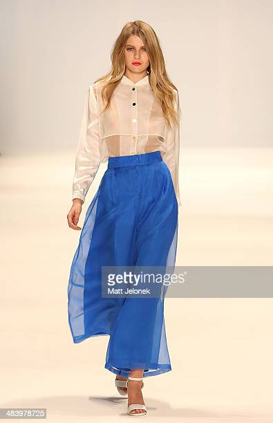Model walks the runway wearing designs by Daniel K at the New Generation show at Mercedes-Benz Fashion Week Australia 2014 on April 10, 2014 in...