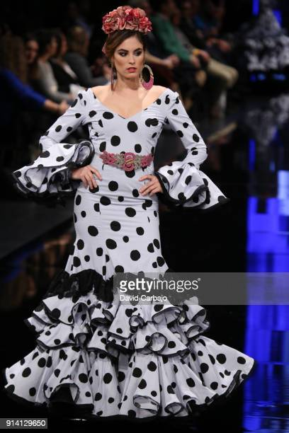 A model walks the runway wearing designs by Pilar Rubio during day three of Simof 2018 on February 3 2018 in Seville Spain