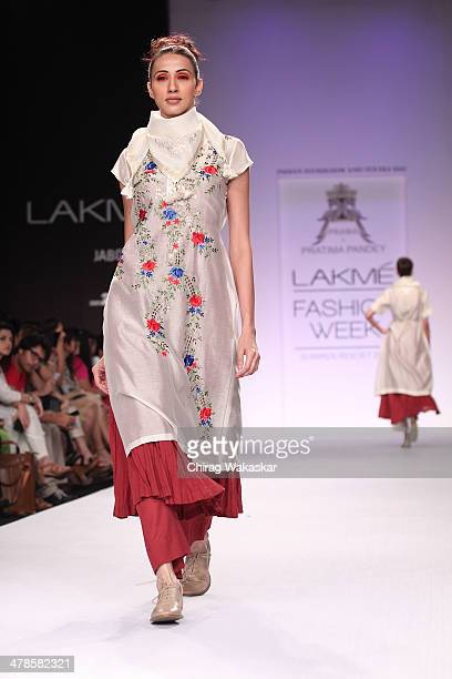Model walks the runway wearing designs by Pratima Pandey at day 4 of Lakme Fashion Week Summer/Resort 2014 at the Grand Hyatt on March 14, 2014 in...