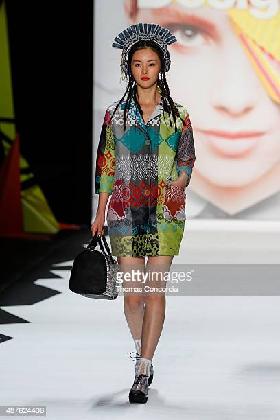 Model walks the runway wearing Desigual Spring 2016 during New York Fashion Week at The Arc, Skylight at Moynihan Station on September 10, 2015 in...