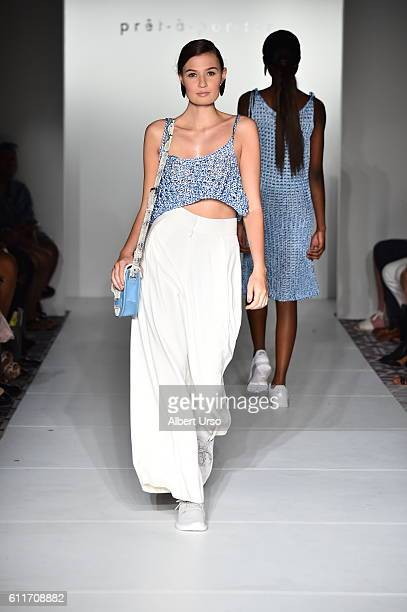 A model walks the runway wearing Di Te by Maria A Beuno at the PretAPorter show during New York Fashion Week September 2016 on September 11 2016 in...