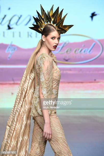 A model walks the runway wearing Diana Couture at Los Angeles Fashion Week Powered by Art Hearts Fashion LAFW FW/18 10th Season Anniversary at The...
