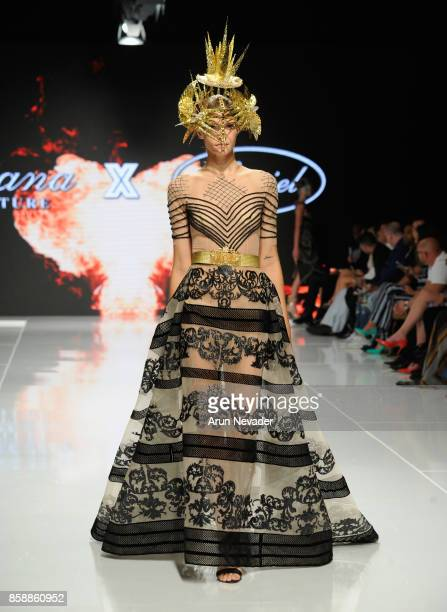 A model walks the runway wearing Diana Couture x Le Ciel Design at Los Angeles Fashion Week SS18 Art Hearts Fashion LAFW on October 7 2017 in Los...