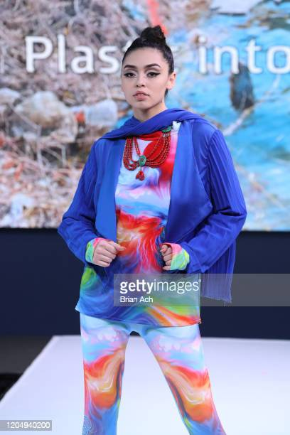 Model walks the runway wearing dkDesign Fashion during NYFW Powered By hiTechMODA on February 08, 2020 in New York City.