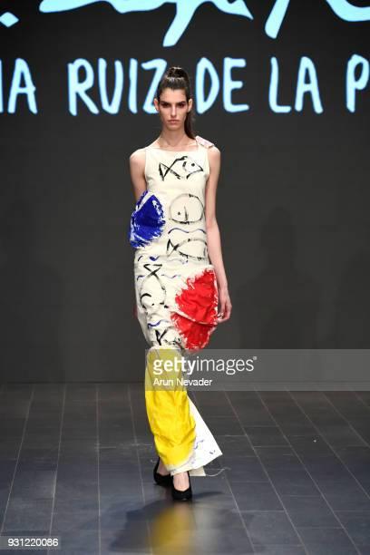A model walks the runway wearing Domingo Zapata X Agatha Ruiz De La Prada at Los Angeles Fashion Week Powered by Art Hearts Fashion LAFW FW/18 10th...