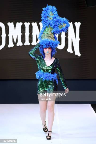 Model walks the runway wearing Dominion Couture Costume Design during NYFW Powered By hiTechMODA on February 08, 2020 in New York City.