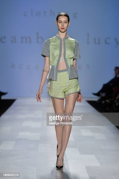 A model walks the runway wearing Dreamboat Lucy spring 2014 collection during the MercedesBenz StartUp national final at World MasterCard Fashion...