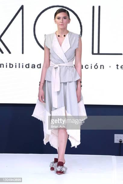 Model walks the runway wearing EILEAN during NYFW Powered By hiTechMODA on February 08, 2020 in New York City.