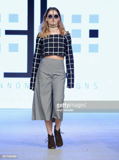 A model walks the runway wearing Elennon Designs at Vancouver Fashion Week Fall/Winter 2017 at Chinese Cultural Centre of Greater Vancouver on March...