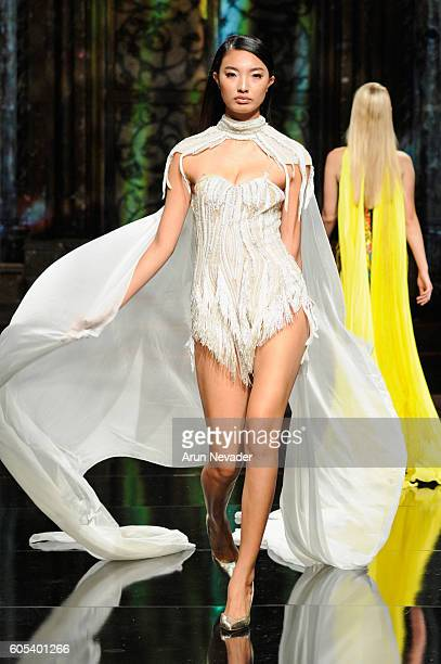 A model walks the runway wearing Elie Madi at Art Hearts Fashion NYFW The Shows presented by AIDS Healthcare Foundation at The Angel Orensanz...