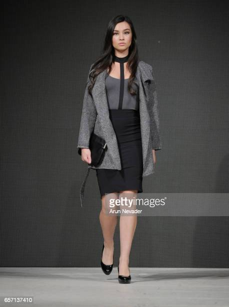 A model walks the runway wearing Elle Made Well at Vancouver Fashion Week Fall/Winter 2017 at Chinese Cultural Centre of Greater Vancouver on March...