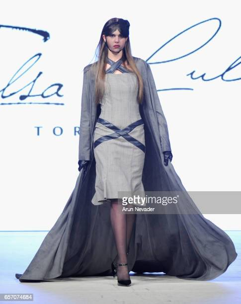 Model walks the runway wearing Elsa Lula at Vancouver Fashion Week Fall/Winter 2017 at Chinese Cultural Centre of Greater Vancouver on March 23, 2017...