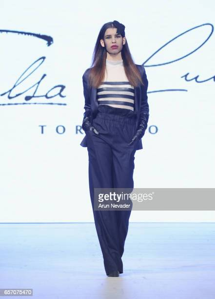 Model walks the runway wearing Elsa Lula during day four of Vancouver Fashion Week Fall/Winter 2017 at Chinese Cultural Centre of Greater Vancouver...