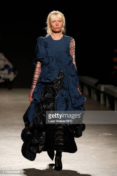 Model walks the runway wearing Emily Collier at the University of Westminster BA show during London Fashion Week February 2019 on February 15, 2019...