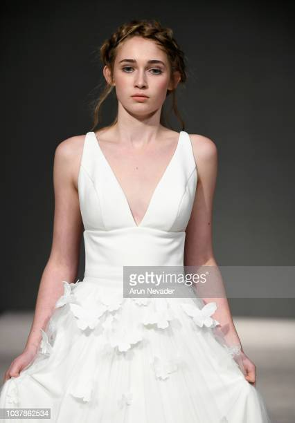 A model walks the runway wearing Erin Clare Bridal at Vancouver Fashion Week Spring/Summer 19 Day 4 on September 20 2018 in Vancouver Canada
