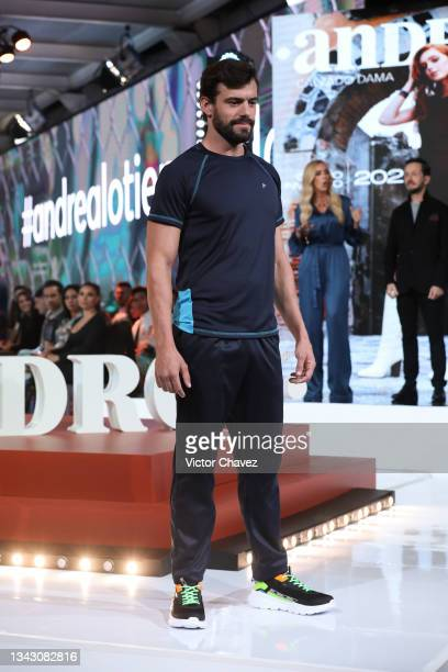 Model walks the runway wearing Fall/Winter collection by Andrea at TV Azteca Ajusco on September 26, 2021 in Mexico City, Mexico.